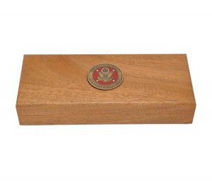 Custom Mahogany Box to Hold Buck Knife with Inlaid Medallion