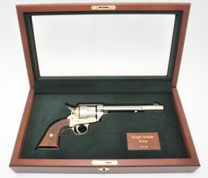 Glass Lid Cherrywood Box To Hold Single Action Army Revolver